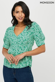 Monsoon Green Indie Print Top