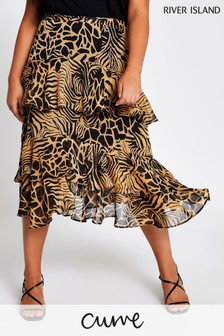 River Island Brown Light Tiered Frill Midi Skirt