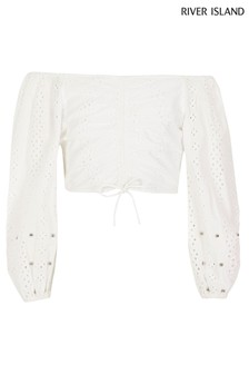 River Island White Broidery Ruched Bardot Top