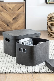 Set of 2 Faux Leather Storage Boxes