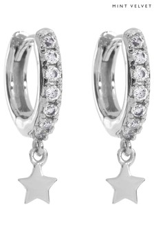 Mint Velvet Natural Silver Pave Star Hoop Earrings