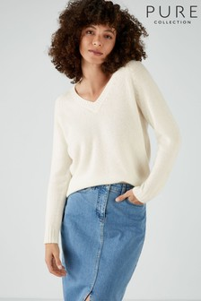 Pure Collection White Cashmere Lofty V-Neck Sweatshirt