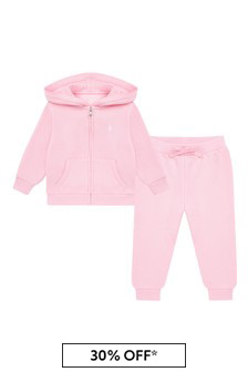 Ralph Lauren Kids Baby Girls Pink Cotton Blend Tracksuit