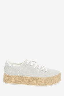 Flatform Lace-Up Espadrille Shoes