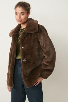 Faux Fur Pea Coat