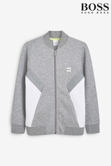 BOSS Grey Zip Up Sweatshirt