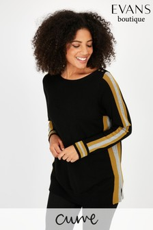 Evans Curve Black Side Stripe Button Blouse