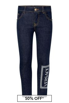 Boys Dark Blue Cotton Logo Jeans