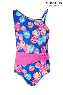 Monsoon Shell Print Belted Swimsuit