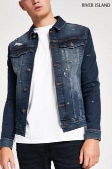 River Island Blue Splat Muscle Denim Jacket