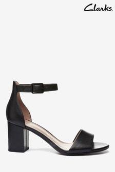 Clarks Black Leather Deva Mae Sandals