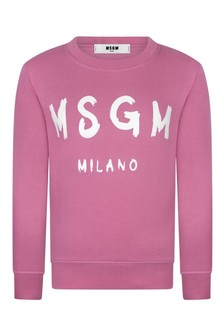 Girls Pink Cotton Logo Sweatshirt