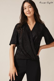 Phase Eight Black Ina Shimmer Wrap Top