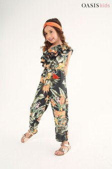 Oasis Tropical Ruffle Asymmetric Jumpsuit