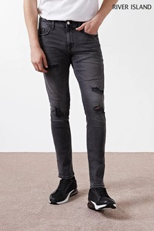 River Island Black Skinny Ripped Baz Jeans