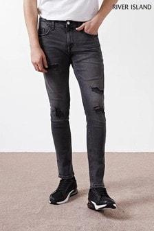 River Island Black Ripped Skinny Sid Jeans