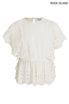 River Island White Broderie Cinched Top
