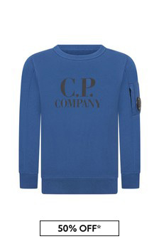 CP Company Boys Blue Cotton Sweater