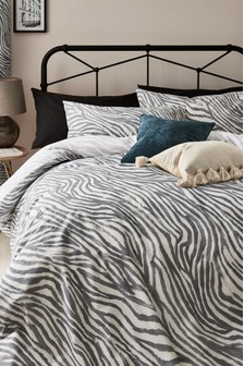 Reversible Zebra Print Duvet Cover and Pillowcase Set