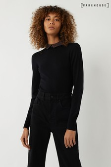 Warehouse Black Animal Print Collar Jumper