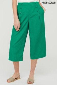 Monsoon Green Eureka Linen Blend Crop Trousers