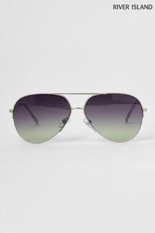 River Island Pilotensonnenbrille mit Farbverlaufgläsern, Silber