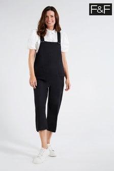 F&F Black Linen Long Romper