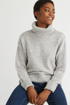 Oliver Bonas Nepped Grey High Neck Knitted Jumper