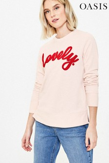 Oasis Pink Lovely Slogan Sweater