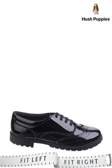 Hush Puppies Black Eadie Senior Brogue Shoes