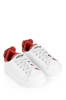 Kids White Leather Teddy Trainers