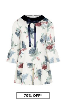 Girls Flower Print Long Sleeves Dress
