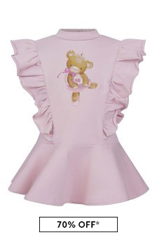 Baby Girls Pink Cotton Teddy Bear Dress