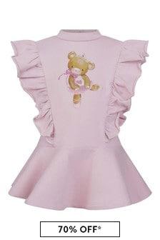 Monnalisa Baby Girls Pink Cotton Teddy Bear Dress