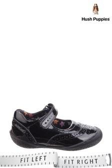 Hush Puppies Black Rina Junior School Shoes