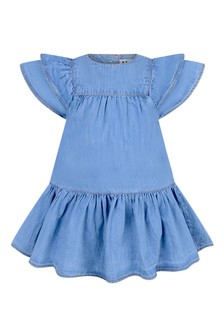 Baby Girls Blue Cotton Chambray Dress