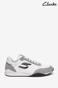Clarks White Combi CraftLo Lace Trainers