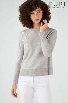 סוודר עם אמרה משוסעת בגזרה רפויה של Pure Collection באפור