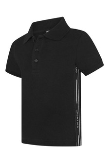Baby Boys Black Cotton Pique Polo Top