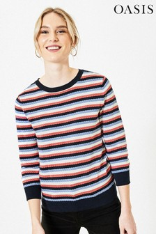 Oasis Blue Textured Stripe Jumper