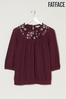 FatFace Purple Audrey Embroidered Top