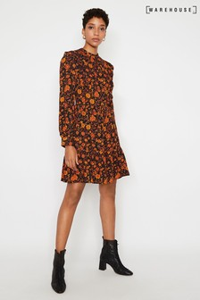 Warehouse Orange Retro Floral Mini Flippy Dress