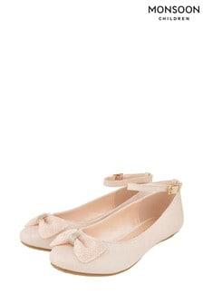 Monsoon Pale Pink Megan Beaded Bow Ballerinas