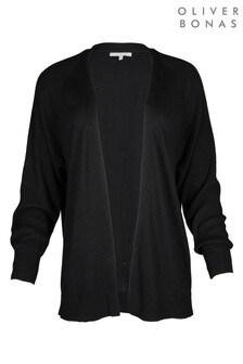Oliver Bonas Ribbed Sleeve Black Open Front Cardigan