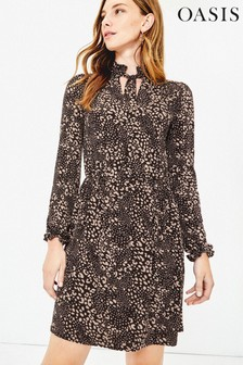 Oasis Black Tall Mollie Pussybow Dress