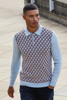 Geo Knitted Zip Neck Polo