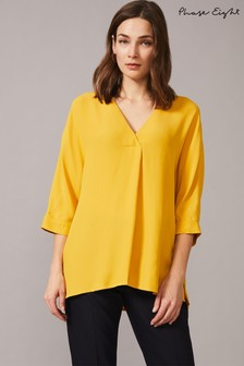 Phase Eight Yellow Maurica Fold Front Blouse