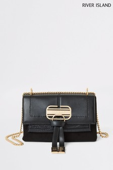 River Island Black Mini Lock Front Tassel Bag