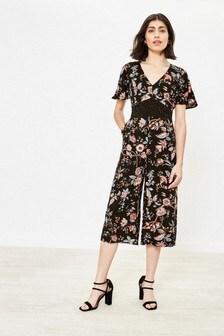 Oasis Black Patched Print Jumpsuit