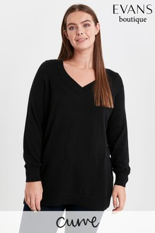 Evans Curve Black Pointelle V-Neck Jumper
